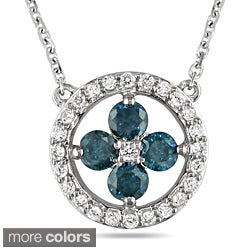 Miadora 14k White Gold 1/2ct TDW Blue or Pink and White Diamond Necklace
