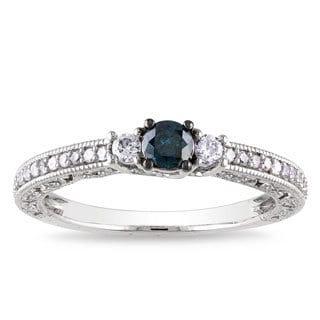 Miadora 14k White Gold 1/2ct TDW Blue Diamond Ring