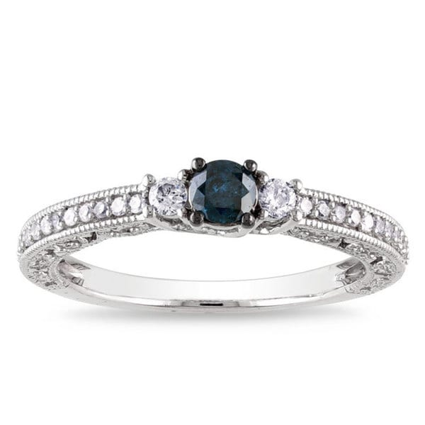 Miadora 14k White Gold 1/2ct TDW Blue Diamond Ring
