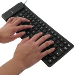 INSTEN Black Portable Flexible Soft Silicone Folding USB Keyboard - Thumbnail 2