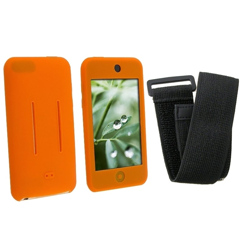 INSTEN Orange/ Black Skin iPod Case Cover w/ Armband for iPod Touch