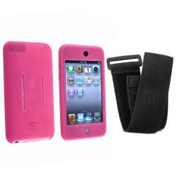 INSTEN Pink/ Black Skin iPod Case Cover w/ Armband for iPod Touch