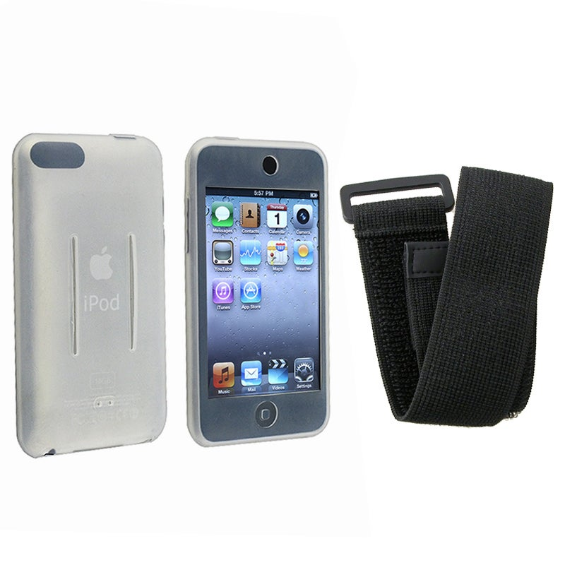 INSTEN White/ Black Skin iPod Case Cover w/ Armband for iPod Touch