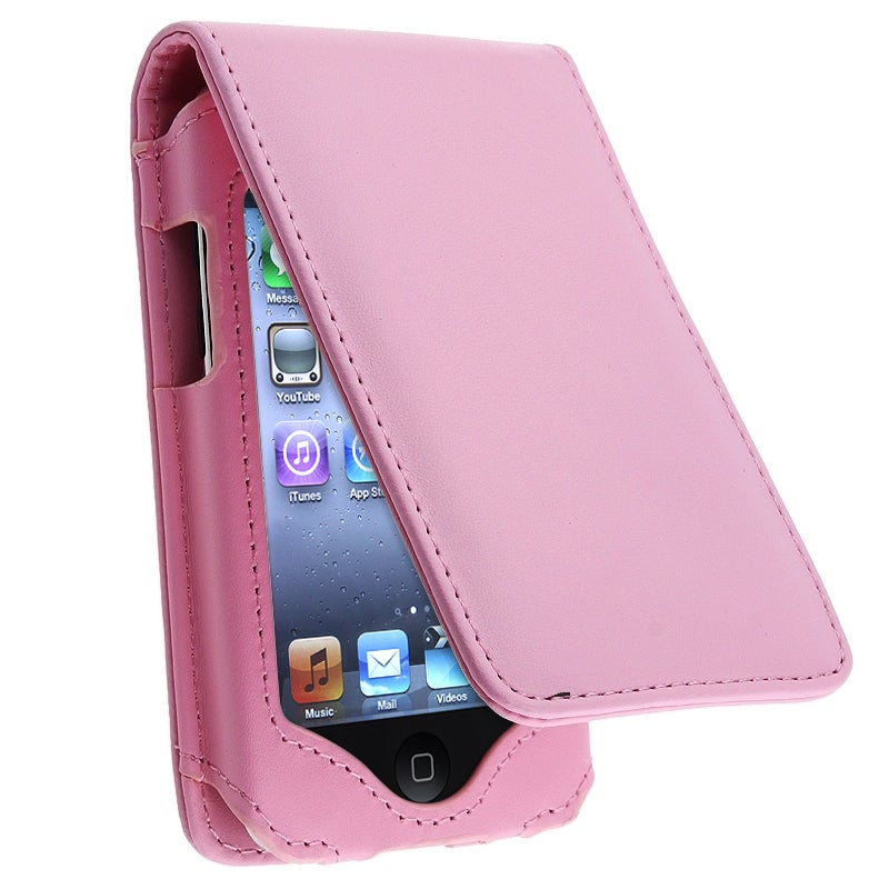 INSTEN Pink Leather iPod Case Cover With Lanyard Kickstand for Apple iPod Touch