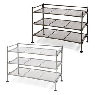 Seville Classics 3-Tier Iron Mesh Stackable Shoe Rack