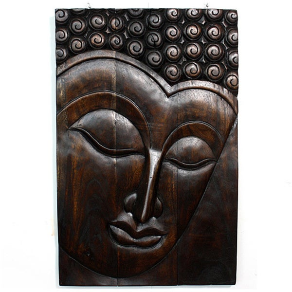 Hand-carved 'Serene Buddha' Mocha Oiled Carved Panel (Thailand)