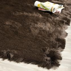 Safavieh Handmade Silken Glam Paris Shag Chocolate Brown Polyester Runner (2'3 x 8')