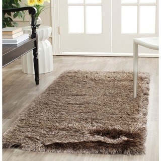 Safavieh Handmade Silken Glam Paris Shag Sable Brown Polyester Runner (2'3 x 8')