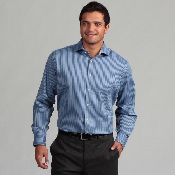 Thomas Dean Men's Striped Woven Shirt
