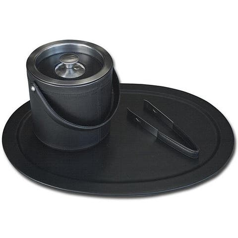 Dacasso Black Top-grain Leather and Stainless Steel Serving Set