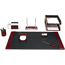 Dacasso Burgundy Leather 10-piece Desk Set