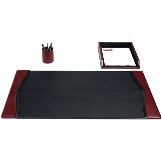 Dacasso Burgundy Top-grain Leather Three-piece Contemporary Desk Set