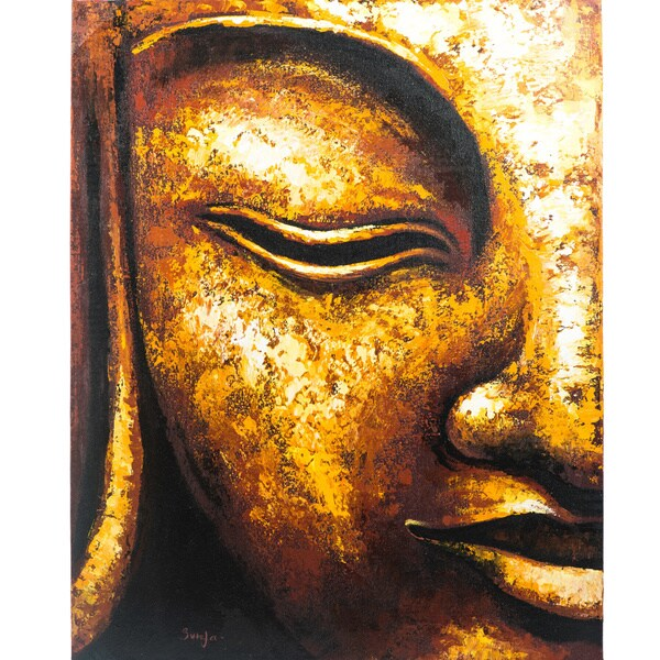 Handmade Acrylic Canvas 'Golden Profile' Painting (Indonesia)