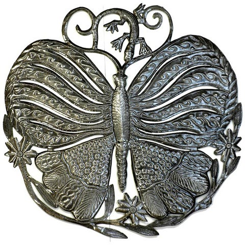 Recycled 'Butterfly and Gecko' 24-inch Metal Wall Art (Haiti)