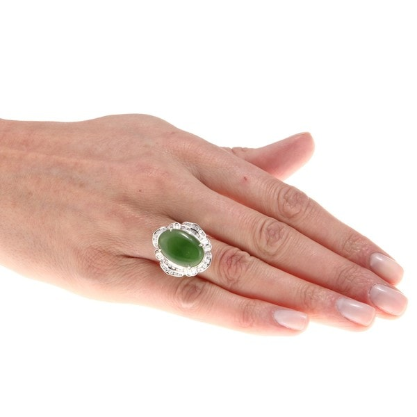 14k Gold Green Jade and 1 2/5ct TDW Diamond Estate Ring (G-H, SI1-SI2)