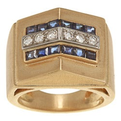 Pre-owned 14k Yellow Gold Sapphire and 1/3ct TDW Diamond Estate Ring (H-I, SI1-SI2)