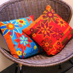 Handcrafted Embroidered Flower Pillow (India)