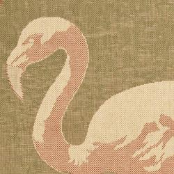 Safavieh Key West Flamingo Natural Indoor Outdoor Rug (5'3 x 7'7)
