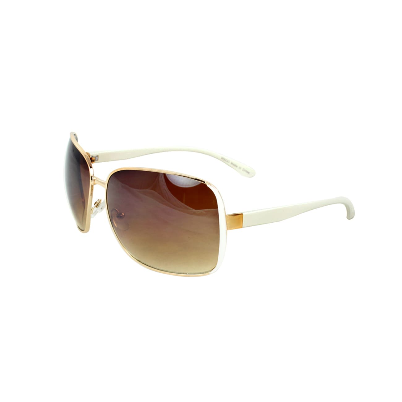 Women's White/ Gold Square Sunglasses