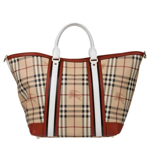Burberry Equestrian Knight Plaid Large Canvas Tote