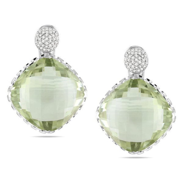 Miadora Signature Collection 14k Gold Green Amethyst and 1/3ct TDW Diamond Earrings (G-H, SI1-SI2)