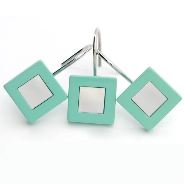 Waverly Aqua-framed Mirrored Shower Curtain Hooks (Set of 12)