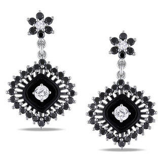 Miadora Signature Collection 14k Gold Onyx and 3/4ct TDW Black and White Diamond Earrings (H-I, SI2)