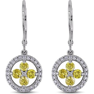 Miadora 14k White Gold 1ct TDW Yellow and White Diamond Earrings