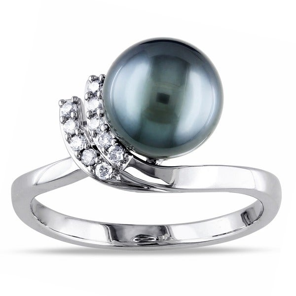 Miadora 10k White Gold Tahitian Pearl and 1/10ct TDW Diamond Ring (H-I, I2-I3)