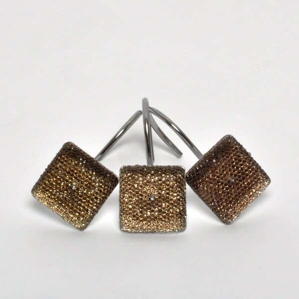 Espresso-colored Crystal Shower Curtain Hooks (Set of Twelve)