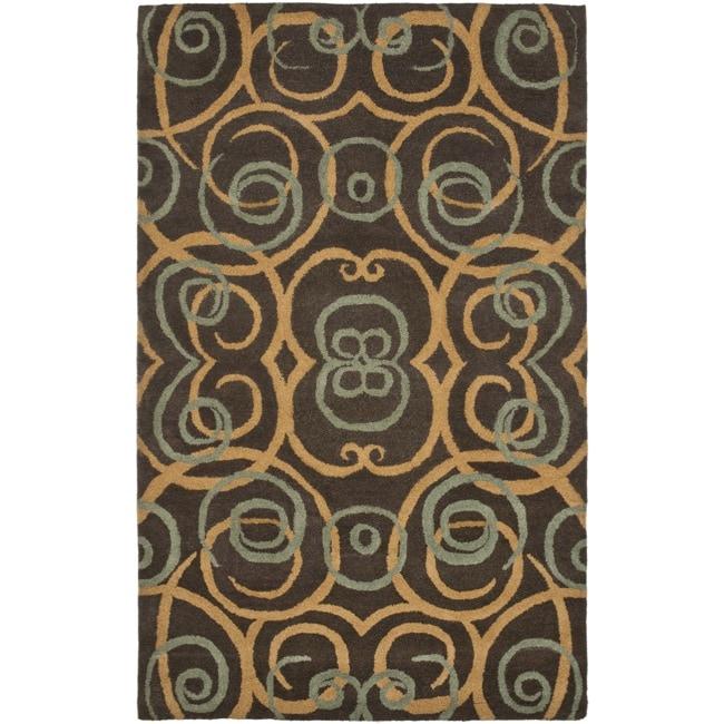 Safavieh Handmade Rodeo Drive Brown New Zealand Wool Rug - 7'6 x 9'6