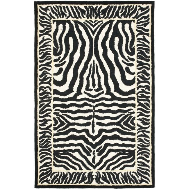 Safavieh Handmade Rodeo Drive Zebra Abstract Black/ Off-White Wool Rug (7'6 x 9'6)