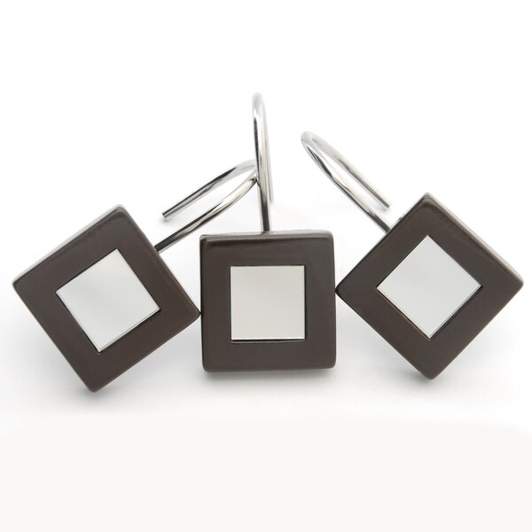 Waverly Mirror Espresso Shower Smooth Curtain Hooks (Set of 12)