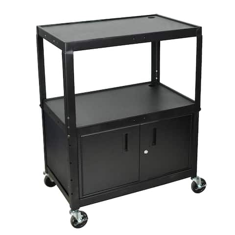Luxor Adjustable Height Steel A/V Cart with Locking Cabinet