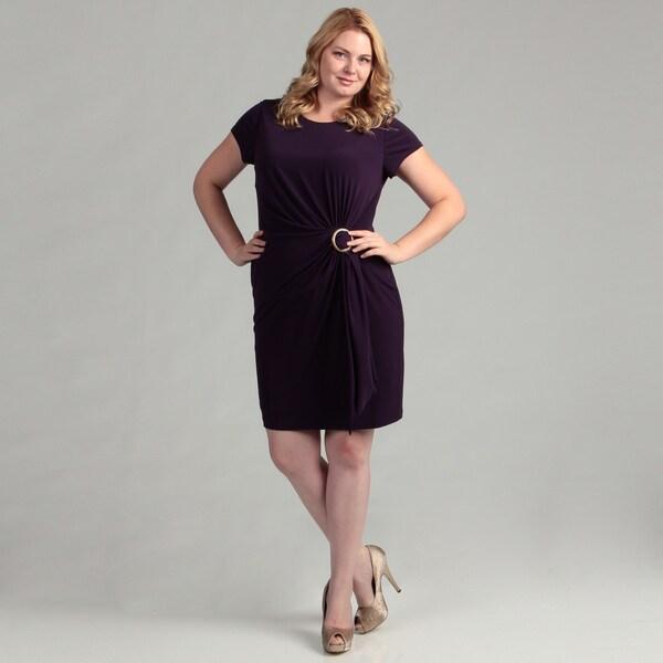 Ellen Tracy Women's Amethyst Gathered Dress