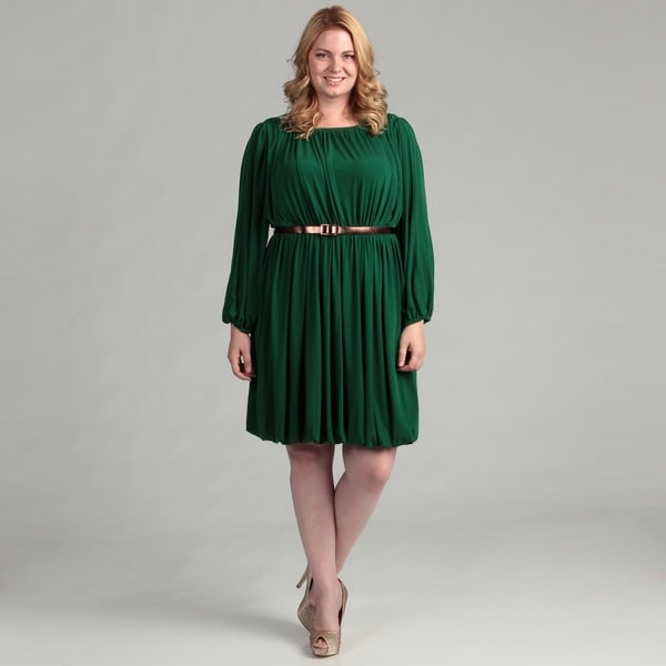 Ellen Tracy Women's Emerald Belted Plus Dress FINAL SALE