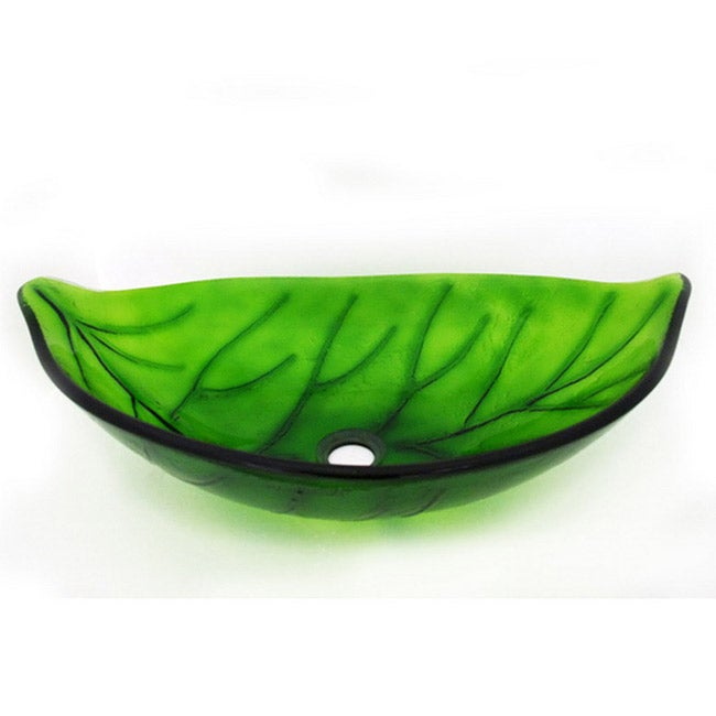Glass Leaf-shaped Sink Bowl - Thumbnail 0