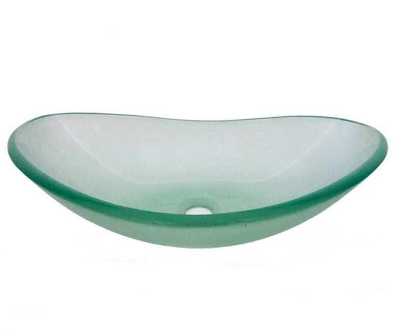 Frosted Tempered Glass Oval Sink Bowl - Thumbnail 0