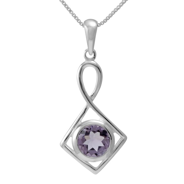 Sterling Silver Round Shaped Natural Cut Amethyst Necklace (Thailand)
