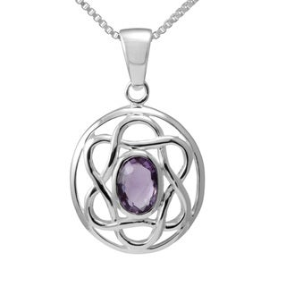 Handmade Sterling Silver Celtic Pendent w/Oval Shaped Natural Amethyst (Thailand)