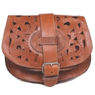 Handmade Henna Tan Cut Leather Saddle Bag (Morocco)