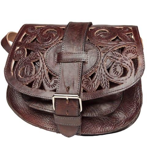 Handmade Chocolate Cut-Leather Saddle Bag (Morocco)