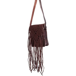 Handmade Espresso Fringed Leather Crossbody Bag (Morocco)