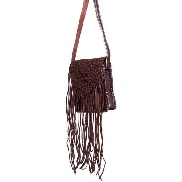 Handmade Espresso Fringed Leather Crossbody Bag (Morocco)