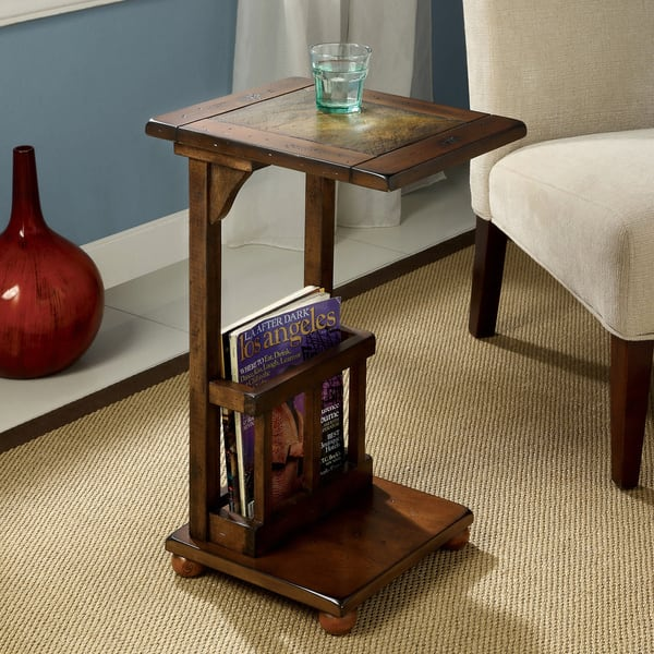 Slimming Sissy Contemporary Antique Oak Magazine Rack End Table By Foa
