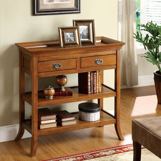 Furniture of America Kams Country Oak Solid Wood 2-drawer End Table