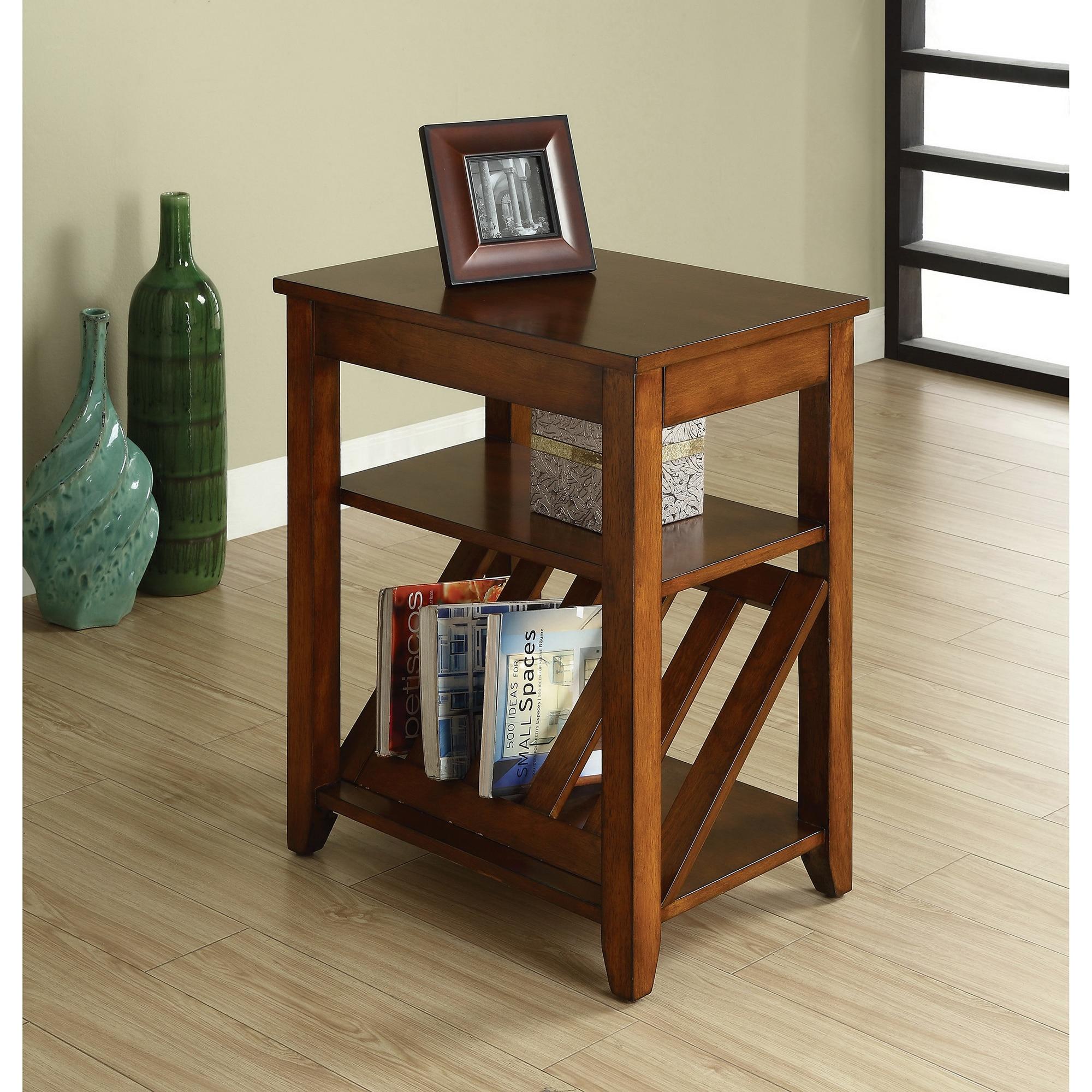Furniture Of America Antique Oak 1 Drawer Magazine Rack End Table