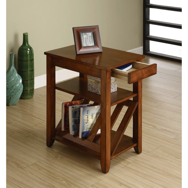 Furniture Of America Antique Oak 1 Drawer Magazine Rack End Table   Free  Shipping Today   Overstock.com   14146804