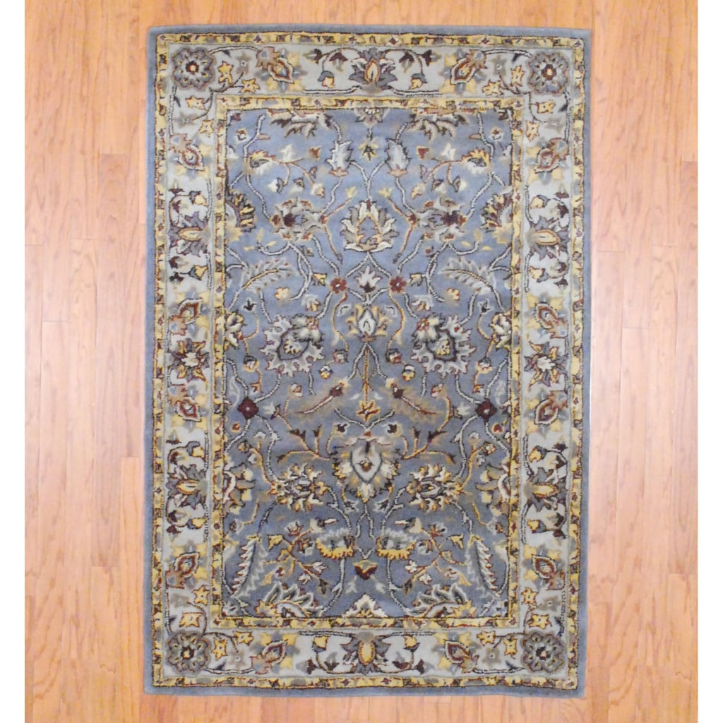 Shop Indo Hand Tufted Gray Ivory Wool Rug 4 X 6