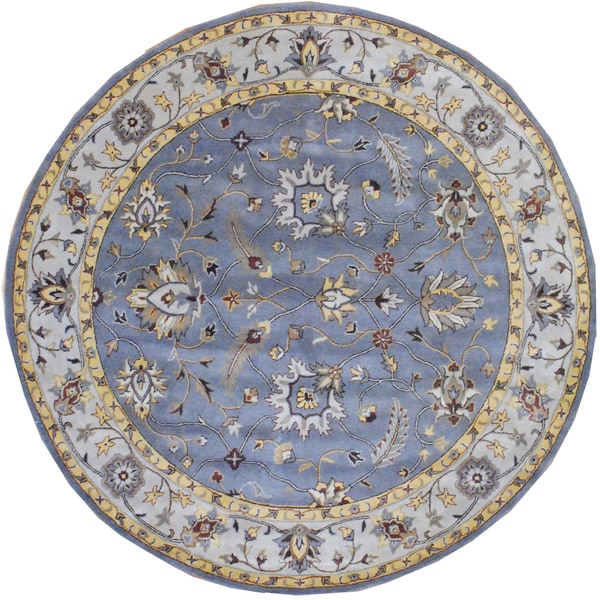 Indo Hand-tufted Gray/ Ivory Wool Rug (8' Round)